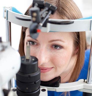 Closeup of a Woman Having an Eye Exam