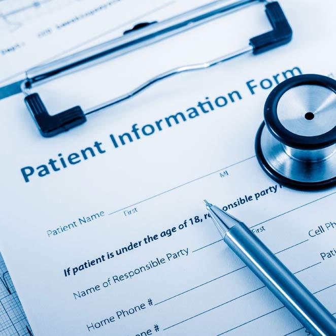 Closeup of a Patient Form