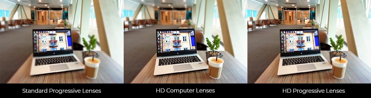 Standard Progressive Lenses vs HD Computer Lenses vs HD Progressive Lenses